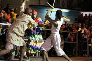 Stickfighing at Kambule, Carnival, Trinidad