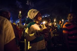 Lady in Candlelight procession, kambule, Carnival, Trinidad