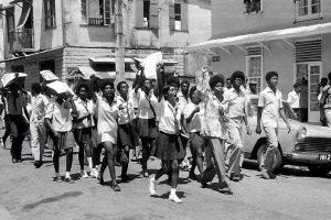 school children protest, port of spain, trinidad