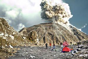 Plume of Explosion on mountain peak