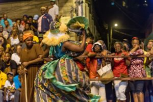 Dame Lorraine, Traditional Carnival masquerader, kambule, Trinidad