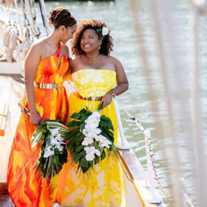 Two ladies on Yacht in Hand Dyed Silk dresses, wedding