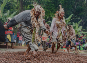 People dancing the cocoa at Heritage Festival Tobago