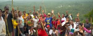 Young group waving on Hiking Tour, Tamana, Trinidad