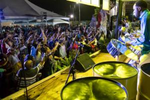 Festive crowd at Steelpan show Trinidad
