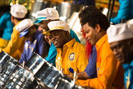 Steel Pan players in Steelband Trinidad