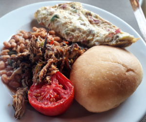 Smoke Herring, Omlette, Tomato and Hops, Creole Food, Trinidad and Tobago