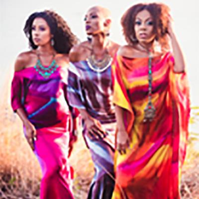 3 Female models in Lisa Faye Hand Dyed Silk dresses, Trinidad