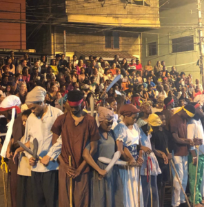 Crowd of African slaves at the Kambule play, Carnival, Trinidad