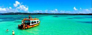Glass bottom boat tour to Nylon Pool Tobago
