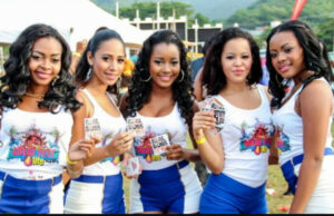 5 Young lady models at Great Fete weekend, Tobago