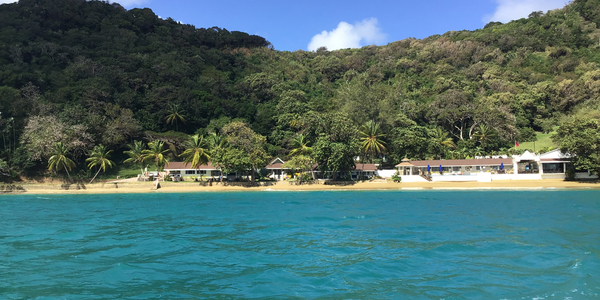 Batteaux bay looking towards shore at Blue Water Inn, Speyside Tobago
