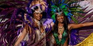 Two women in Carnival costume