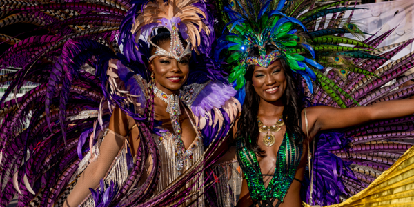 Two woman dressed in costumer for Carnival which is a big event in St. John Caribbean
