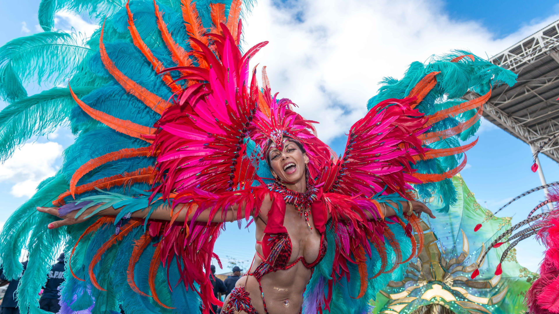 Female masquerader in front line Carnival costume