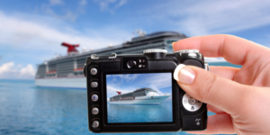 Camera zooming in on a cruise ship